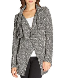 Bobeau Shawl Collar Textured Herringbone Jacket Black Pattern