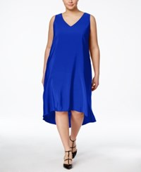 Inc International Concepts Plus Size Sleeveless High Low Dress Only At Macy's Egyptian Blue
