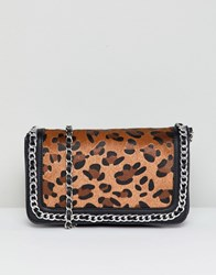 Stradivarius Chain Detail Across Body Bag With Leopard Print Multi