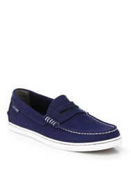 Cole Haan Pinch Weekender Canvas Penny Loafers Peacoat Blue