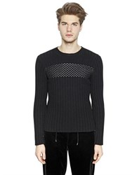 Emporio Armani Faux Leather Detail Wool Sweater