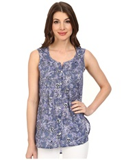 Jag Jeans Ophelia Printed Voile Sleeveless Top Sea Blue Women's Sleeveless