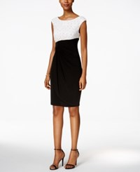 Connected Sequin Colorblocked Faux Wrap Dress Ivory Black