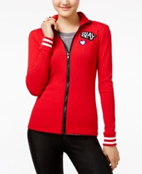 Almost Famous Juniors' Patch Track Jacket Red