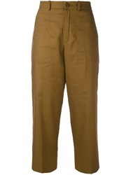Chloe Cropped Trousers Women Cotton Linen Flax 36 Brown