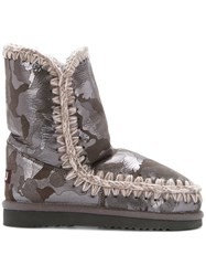Mou Inner Wedge Boots Sheep Skin Shearling Wool Rubber Grey