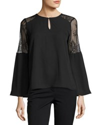 Collective Concepts Bell Sleeve Lace Panel Top Black