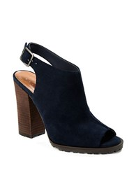 424 Fifth Deanna Slingback Open Toe Mules Navy Blue