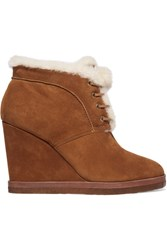 Michael Kors Collection Chadwick Shearling Trimmed Suede Wedge Boots Tan