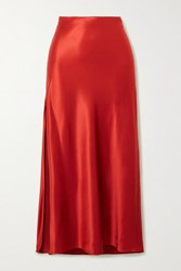 Fleur Du Mal Silk Satin Midi Skirt Red
