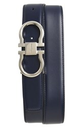 Salvatore Ferragamo Men's Big And Tall Reversible Double Gancio Calfskin Leather Belt Blue Marine Black