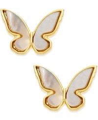 Kate Spade New York 14K Gold Plated Mother Of Pearl Butterfly Stud Earrings