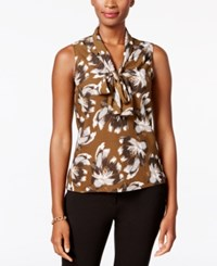 Nine West Printed Tie Neck Blouse Amber Multi