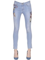 Ermanno Scervino Embroidered Skinny Cotton Denim Jeans
