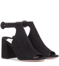 Prada Cut Out Suede Ankle Boots Black