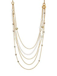 Miriam Haskell Long Multi Charm Lobster Clasp Necklace