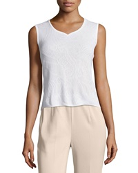Ming Wang Tonal Lace Jacquard Sweetheart Neck Tank White