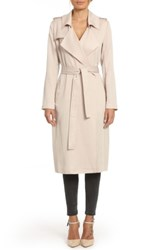 Badgley Mischka 'S Faux Leather Trim Long Trench Coat