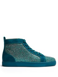 Christian Louboutin Louis Embellished Suede High Top Trainers Green
