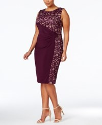 R And M Richards Plus Size Lace Panel Satin Sheath Dress Plum Taupe