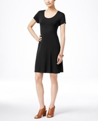 Styleandco. Style And Co. Petite Short Sleeve A Line Dress Only At Macy's Deep Black
