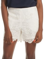 Trina Turk Compay Scalloped Lace Shorts White Wash