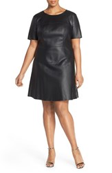 Plus Size Women's Tart 'Carla' Faux Leather Fit And Flare Dress Black