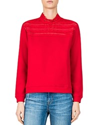 The Kooples Lace Inset Sweatshirt Red