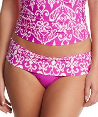 Athena Sand Tropez Printed Fold Over Swim Bottom Raspberry