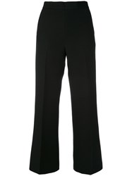 Fendi Wide Leg Tailored Trousers Women Silk Wool 46 Black