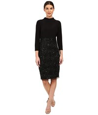 Adrianna Papell Mock Neck Jersey Bodice With Fully Beaded Skirt Black Women's Skirt
