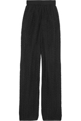 M Missoni Metallic Crochet Knit Wide Leg Pants Black