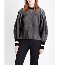 Sportmax Nome Striped Knitted Jumper White Black