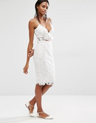 Missguided Crochet Lace Midi Skirt Cream