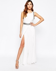 Tfnc Jumpsuit With Wide Split Leg And Embellishment Cream