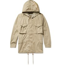 Nonnative Liberty London Hunter Cotton And Linen Blend Twill Hooded Field Jacket Beige