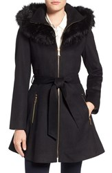 Laundry By Shelli Segal Women's Shelly Faux Fur Trim Wool Blend Fit And Flare Coat Black