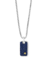 Effy Men's Sapphire Dog Tag Pendant Necklace 1 3 8 Ct. T.W. In Sterling Silver And 18K Gold Black