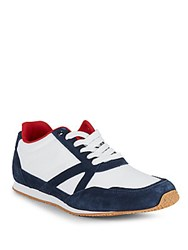 Penguin Colorblock Lace Up Sneakers Navy White