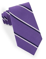 Lord And Taylor Double Clean Striped Tie Purple