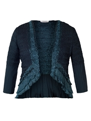 Chesca Ink Crush Pleat Lace And Satin Trim Shrug