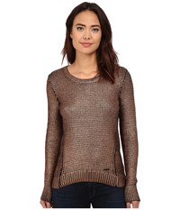 Calvin Klein Jeans Foil Printed Texture Crew Sweater Copper Women's Sweater Bronze