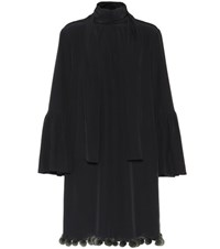 Fendi Fur Trimmed Silk Dress Black