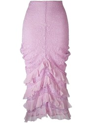 Christian Dior Vintage Ruffle Trim Lace Skirt Pink Purple