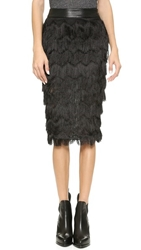 J.O.A. Chevron Fringe Skirt Black