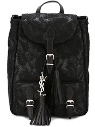 Saint Laurent Lace Overlay Backpack Black