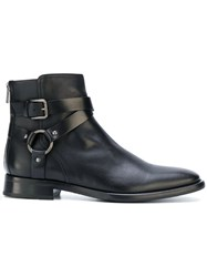 Dolce And Gabbana Buckled Ankle Boots Leather Rubber 42.5 Black