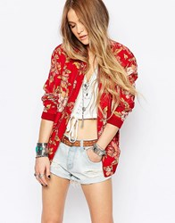 Denim And Supply Ralph Lauren Denim And Supply By Ralph Lauren Floral Bomber Jacket Red