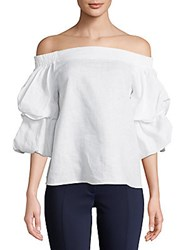 Saks Fifth Avenue Black Off The Shoulder Linen Blouse White