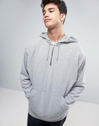 Asos Oversized Hoodie With Half Zip In Gray Marl Gray